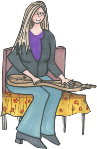 Cartoon of Carla Maxwell playing a mountain dulcimer