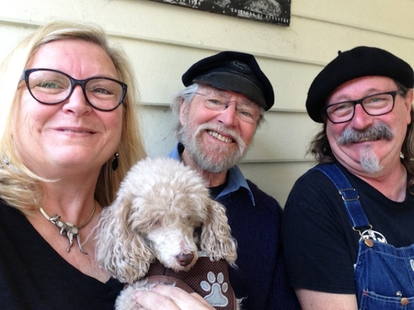 Carla Maxwell, Terry Hennessy, and Adrian Kosky, with Miss Jelly Bean in Kangaroo Valley, New South Wales, Australia, September 2018